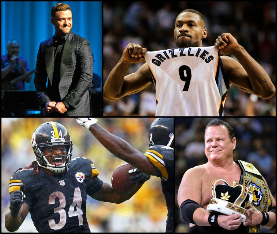 """<strong>Justin Timberlake (clockwise from top left), Tony Allen, Jerry Lawler and DeAngelo Williams are among The Daily Memphian staff picks for ESPN GameDay's """"guest picker.""""</strong>"""