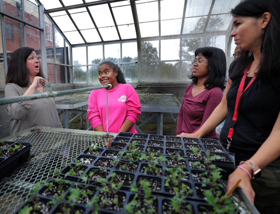 <strong>Houston High School students Breonna Allen (center left) and Madison Chung (center right) listens to teacher Gretchen Rose (far left) talk about gardening while school employee Leigh Ellis follows along Oct. 28. Allen and Chung work in the garden for the Harvest Houston project, which is an extension of the Exceptional Student Education Department at Houston High.</strong> (Patrick Lantrip/Daily Memphian)