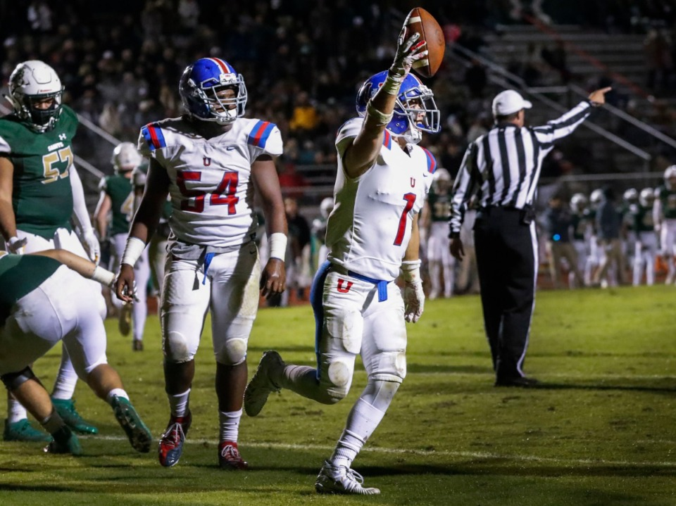 <strong>MUS defender Charlie Street (with ball) celebrates a fumble recovery against Briarcrest Nov. 1.</strong> (Mark Weber/Daily Memphian)