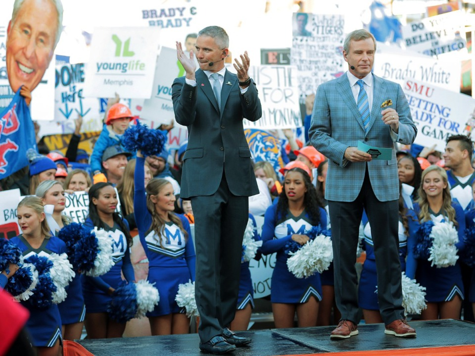 <strong>University of Memphis head football coach Mike Norvell (left) takes the stage with host Tom Rinaldi during the broadcast of ESPN's &ldquo;College GameDay&rdquo; live from Beale Street on Nov. 2, 2019.</strong> (Jim Weber/Daily Memphian)