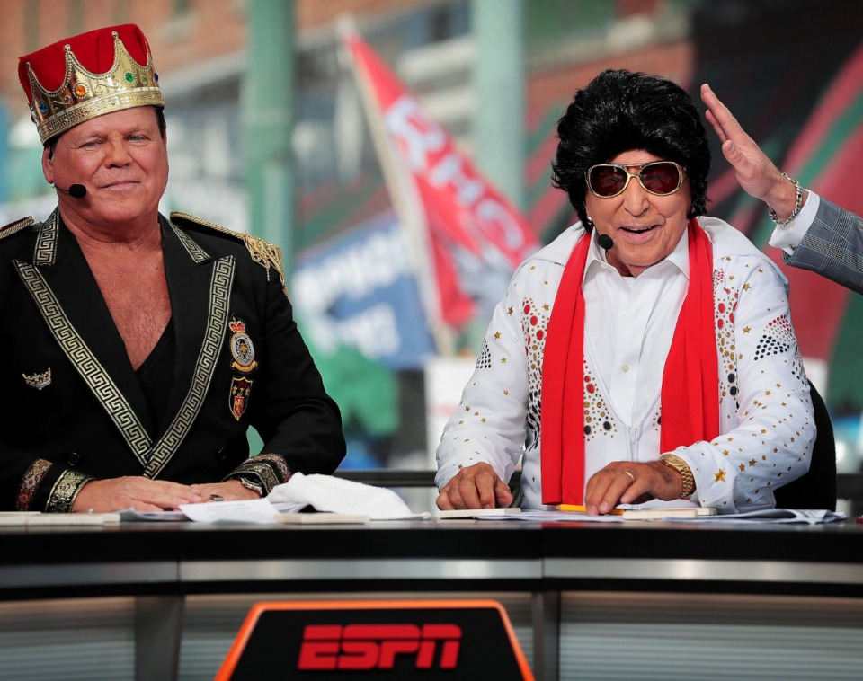 """<strong>Memphis wrestler Jerry Lawler (left) and ESPN's """"College GameDay"""" host Lee Corso don their Memphis finery for the finale of the the live network broadcast of """"GameDay"""" from Beale Street on Nov. 2, 2019.</strong> (Jim Weber/Daily Memphian)"""