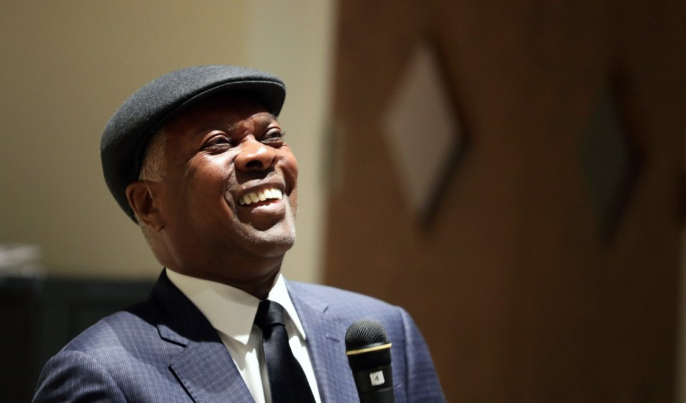 "<strong>Booker T. Jones talks about his 2019 memoir, ""Time Is Tight: My Life, Note by Note,"" at Stax Museum of American Soul Music in Memphis on Nov.1, 2019.</strong> (Karen Pulfer Focht/Special To the Daily Memphian)"