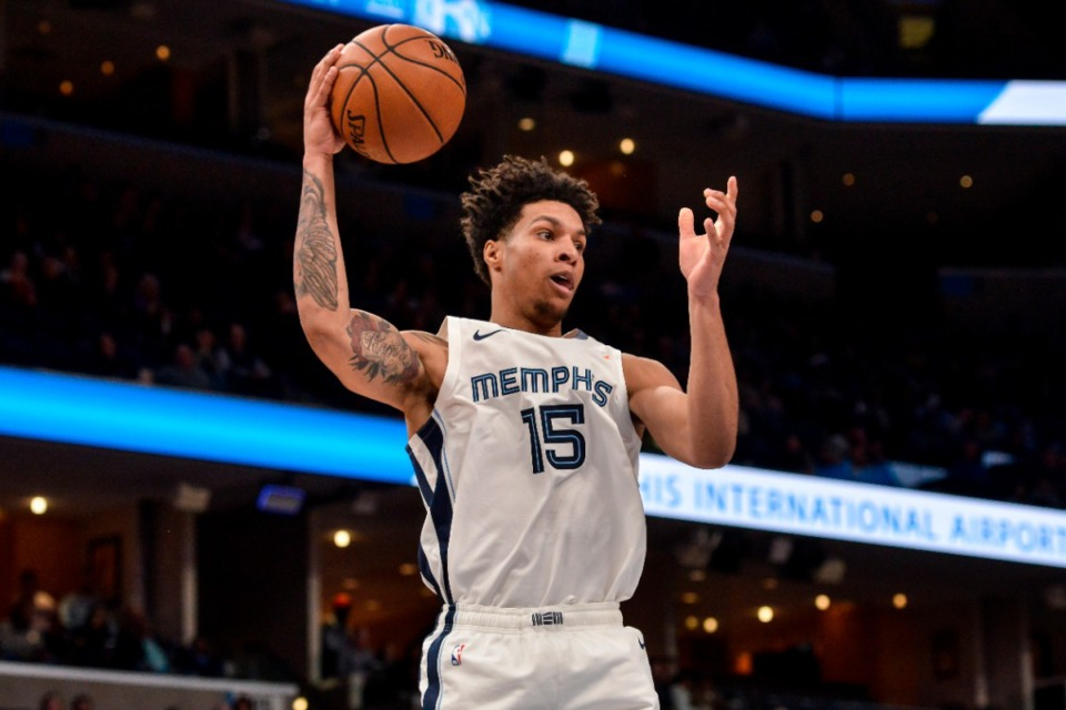<strong>Memphis Grizzlies forward Brandon Clarke (15) plays in the first half of an NBA basketball game against the Phoenix Suns Saturday, Nov. 2, 2019, in Memphis, Tenn.</strong> (AP Photo/Brandon Dill)