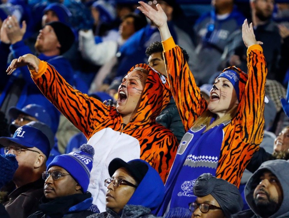 <strong>University of Memphis fans celebrate a Tigers touchdown against SMU&nbsp;during the game on Saturday, Nov. 2, 2019, at Liberty Bowl Memorial Stadium.&nbsp;(</strong>Mark Weber/Daily Memphian)