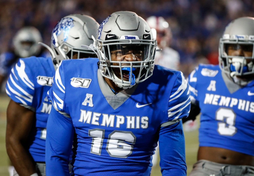 <strong>University of Memphis defender Nehemiah Augustus celebrates a tackle against SMU during the game Saturday, Nov. 2, 2019, at Liberty Bowl Memorial Stadium.</strong> (Mark Weber/Daily Memphian)