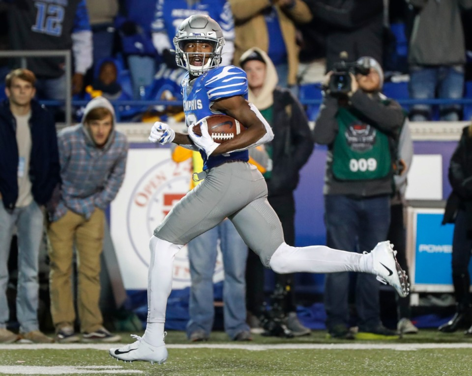 <strong>University of Memphis receiver Damonte Coxie looks back at the SMU defense while scoring a touchdown during the game Saturday, Nov. 2, 2019, at Liberty Bowl Memorial Stadium.</strong> (Mark Weber/Daily Memphian)