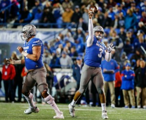 <strong>Memphis quarterback Brady White (right) makes a throw against the SMU defense during the game Saturday, Nov. 2, 2019 at Liberty Bowl Memorial Stadium.</strong> (Mark Weber/Daily Memphian)