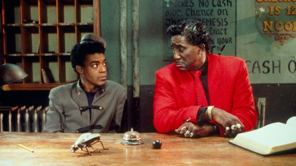 "<strong>Cinque Lee and Screamin' Jay Hawkins man the desk at the Arcade Hotel in ""Mystery Train.""</strong> (Courtesy of Indie Memphis.)"