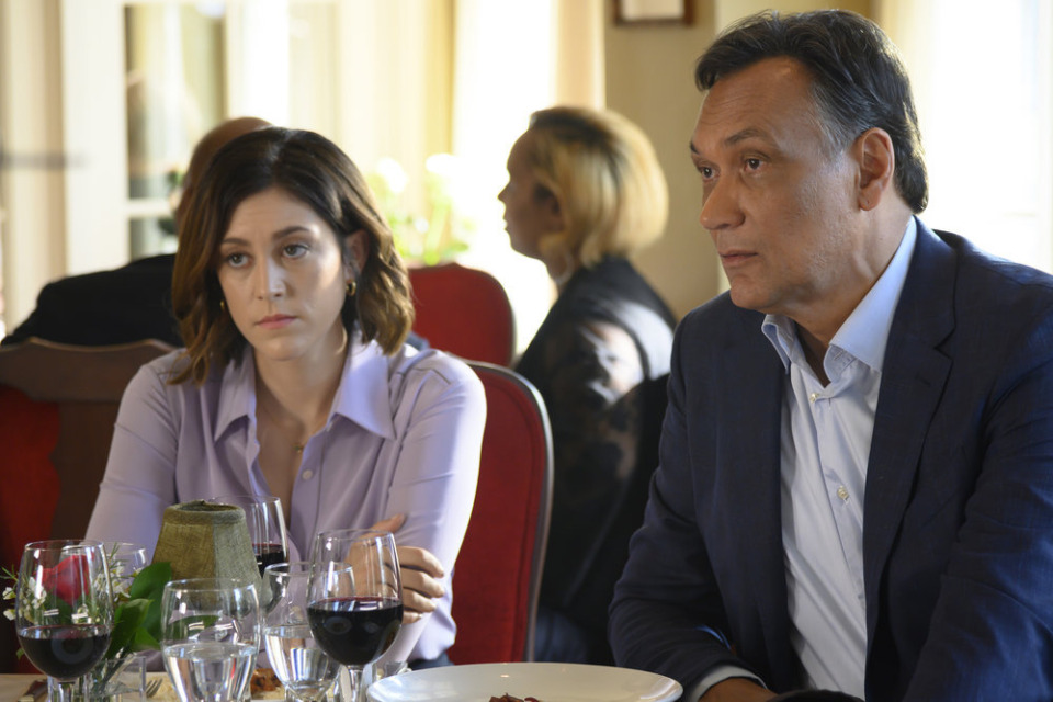 "<strong>Sydney Strait (Caitlin McGee) and Elijah Strait (Jimmy Smits) in Episode 7 of ""Bluff City Law.""</strong> (Katherine Bomboy/NBC)"