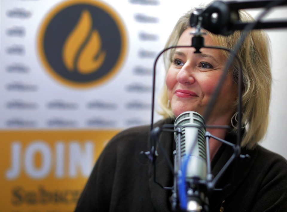 <strong>Jennifer Biggs sat down with Chris Herrington for a Nov. 4, 2019 taping of the Destination: Delicious Podcast.</strong> (Patrick Lantrip/Daily Memphian)