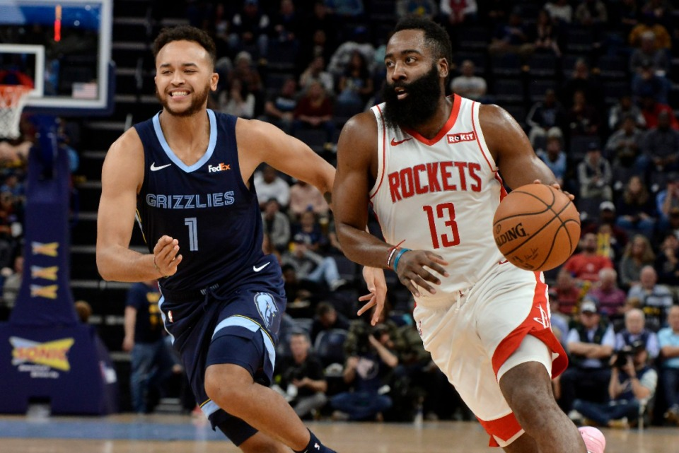 <strong>Houston Rockets guard James Harden (13) drives ahead of Memphis Grizzlies forward Kyle Anderson (1) Nov. 4.</strong> (Brandon Dill/AP)