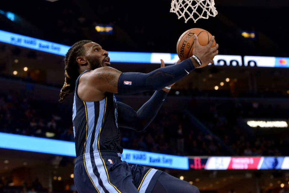 <strong>Grizzlies forward Jae Crowder shoots against the Houston Rockets Nov. 4.</strong> (Brandon Dill/AP)