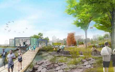 <strong>Studio Gang's 2017 Memphis Riverfront Concept plan shows a reimagined Tom Lee Park with a pavilion, trails and shaded picnic areas among its amenities. </strong>(Studio Gang)