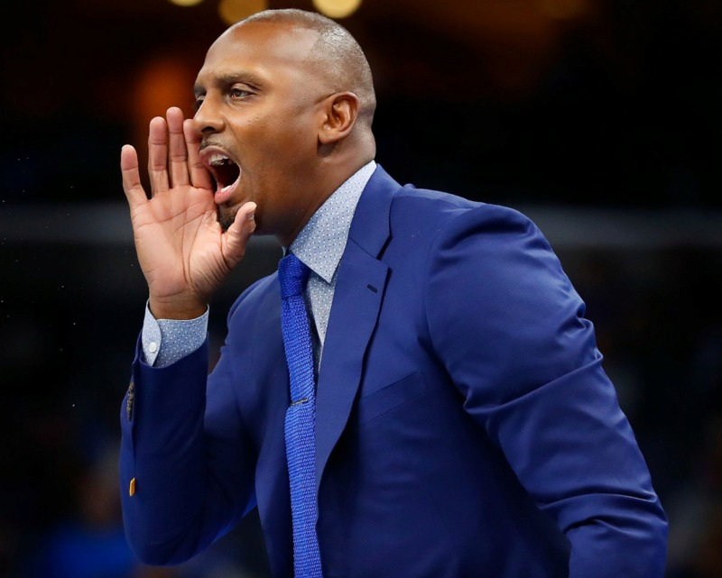 <strong>Memphis head coach Penny Hardaway yells to his players in the game against South Carolina State Nov. 5 at FedExForum.</strong> (Mark Weber/Daily Memphian)