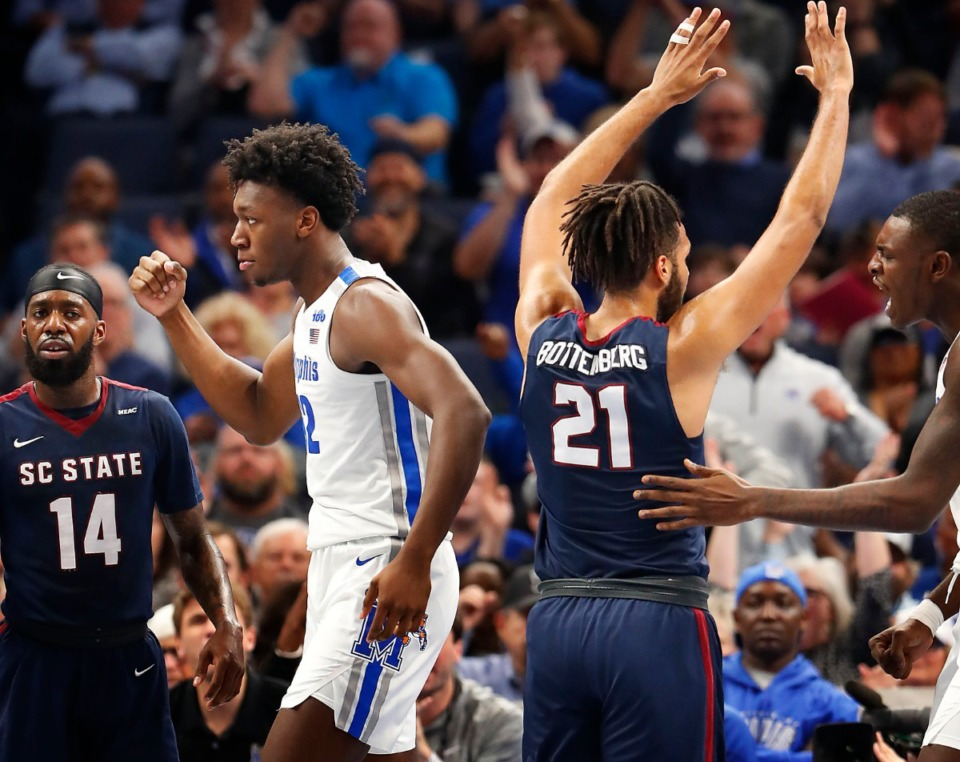 <strong>Memphis center James Wiseman (middle) celebrates a basket while being fouled by South Carolina State Nov. 5 at FedExForum.</strong> (Mark Weber/Daily Memphian)