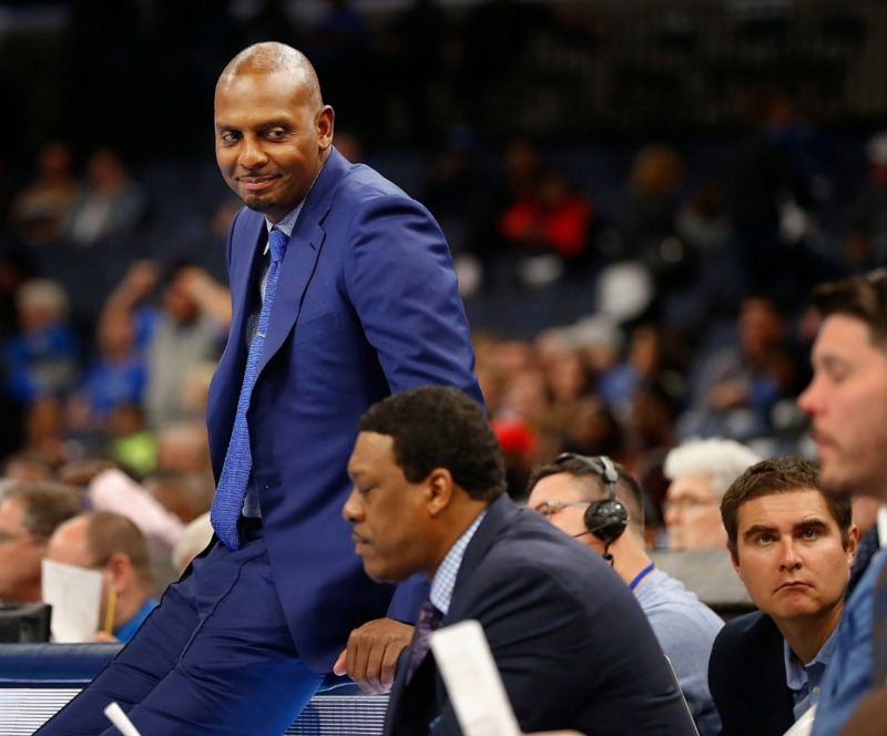 <strong>Memphis head coach Penny Hardaway smiles on the bench during the final minutes of a 97-64 victory over South Carolina State Tuesday, Nov. 5, 2019, at FedExForum.</strong> (Mark Weber/Daily Memphian)
