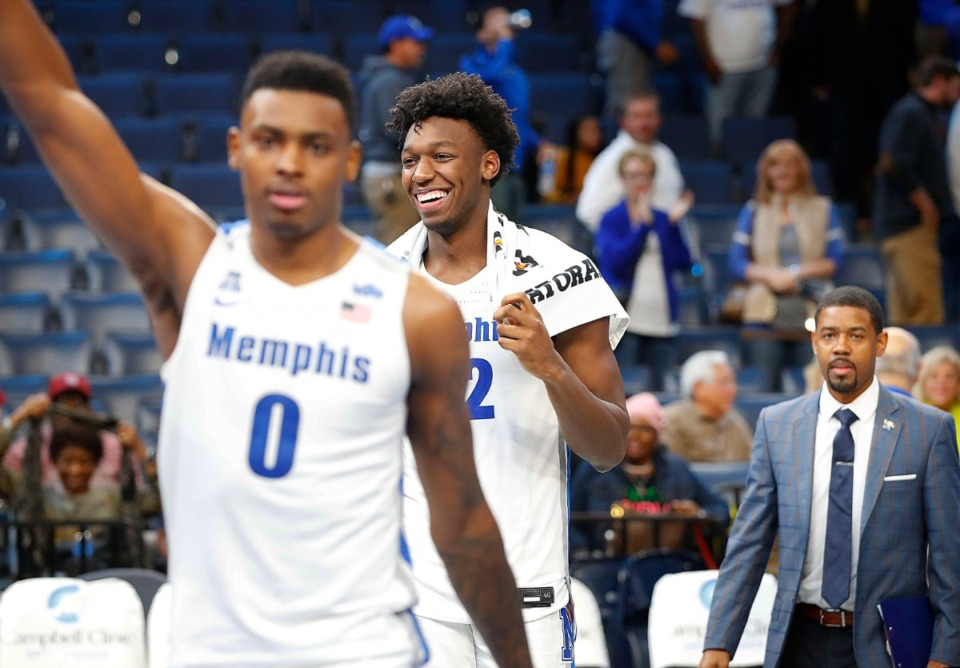 <strong>Memphis teammates James Wiseman (right) and D.J. Jeffries (left) celebrate after beating South Carolina State 97-64 Tuesday, Nov. 5, 2019 at FedExForum.</strong> (Mark Weber/Daily Memphian)