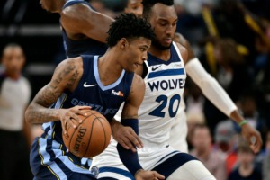 <strong>Memphis Grizzlies guard Ja Morant handles the ball against Minnesota Timberwolves guard Josh Okogie (20) in the first half of an NBA basketball game Wednesday, Nov. 6, 2019, at FedExForum.</strong> (Brandon Dill/AP)