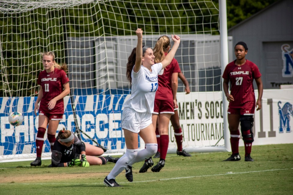 <strong>Clarissa Larisey celebrates a goal against Temple on Oct. 27, 2019.&nbsp;</strong> (Frank Ramirez/Special to The Daily Memphian)