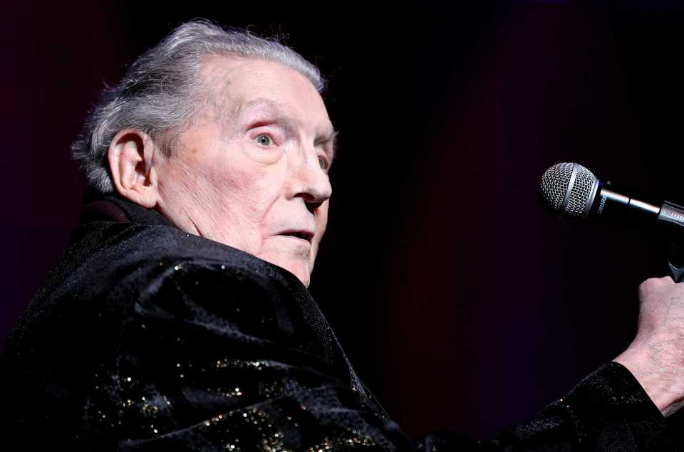 "<strong>Jerry Lee Lewis took the stage at the Memphis Music Hall of Fame induction ceremony to play ""Great Balls of Fire,"" which was being honored. Seven new members were inducted in a ceremony at the Cannon Center for the Performing Arts.</strong> (Houston Cofield/Daily Memphian)"