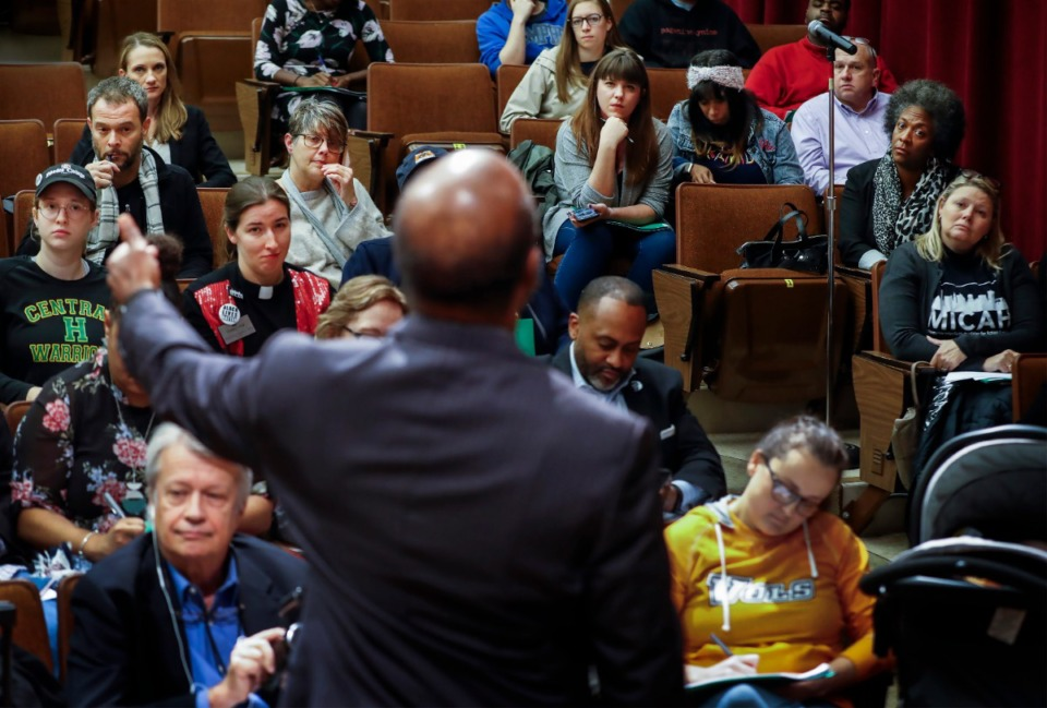 <strong>Community members attend a public forum with a monitoring team discussing the city's recent motion in federal court, asking to modify a decades-old consent decree, on Nov. 7 at Mississippi Boulevard Christian Church.</strong> (Mark Weber/Daily Memphian)
