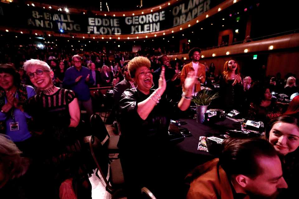 <strong>Brenda Corbet dances as gospel singers from the orginal O'Landa Draper's Associates perform at the Memphis Music Hall of Fame induction ceremony Thursday, Nov. 1, at the Cannon Center for the Performing Arts. </strong>(Houston Cofield/Daily Memphian)