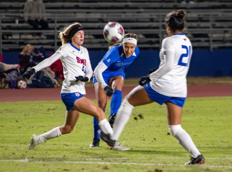 <strong>Mya Jones takes a shot during the women's soccer American Athletic Conference Tournament semifinal game against SMU Nov. 8.</strong>&nbsp;(Frank Ramirez/ Daily Memphian)