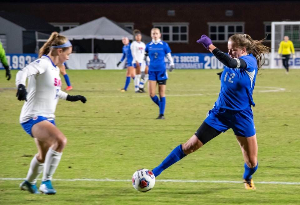 <strong>Tanya Boychuk moves past an SMU defender Nov. 8. Boychuk tallied a goal in this semifinal.</strong> (Frank Ramirez/Daily Memphian)