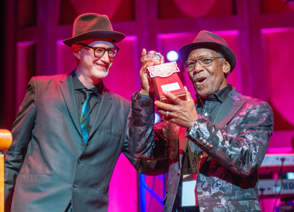 <strong>Scott Bomar of the Bo-Keys presents Don Bryant with his Memphis Music Hall of Fame award at the Cannon Center Nov. 8.</strong> (Greg Campbell/ Special to The Daily Memphian)