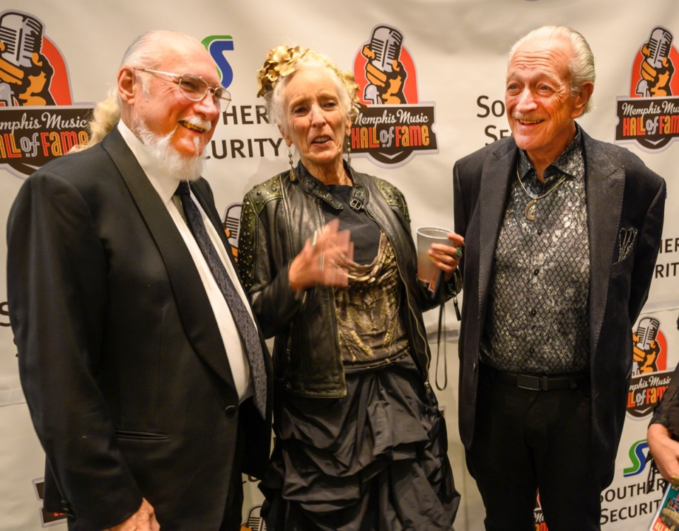 <strong>Steve Cropper, Henrietta Musselwhite and Charlie Musselwhite chat before the Memphis Music Hall of Fame ceremony at the Cannon Center Nov. 8.</strong> (Greg Campbell/ Special to The Daily Memphian)