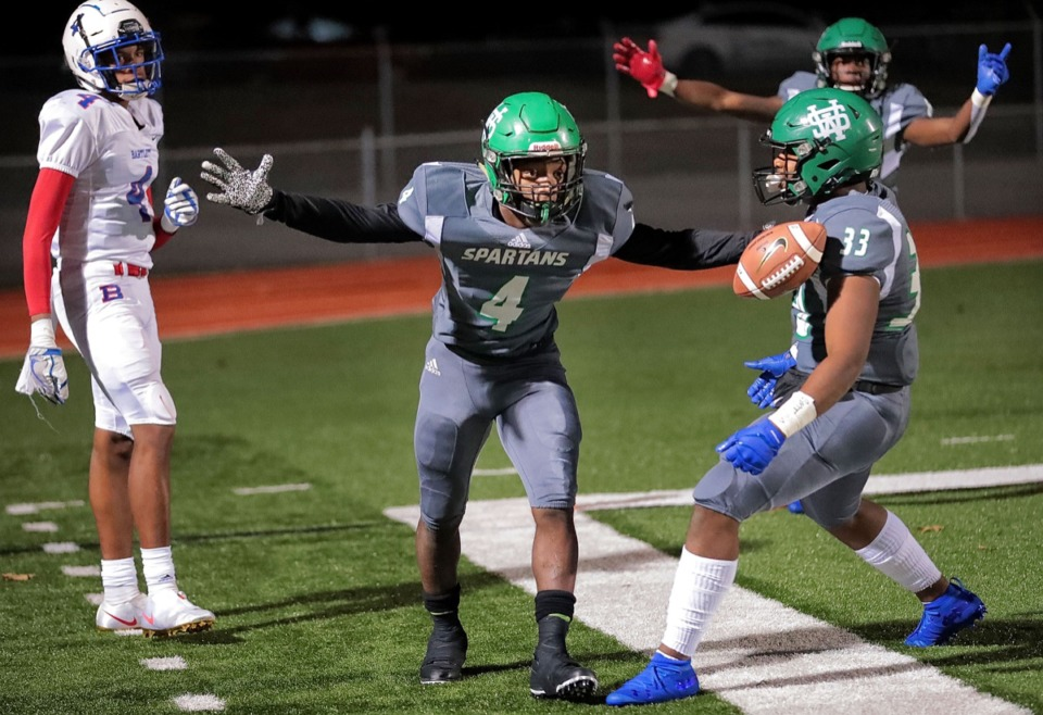 <strong>Spartan Jaylen Caver reacts after a near touchdown in the first half of White Station's game against Bartlett at Cordova Nov. 8.</strong> (Jim Weber/Daily Memphian)