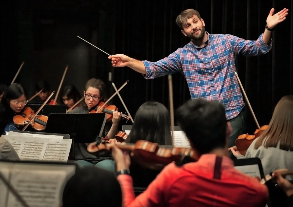 <strong>Artistic Director Jonathan Schallert leads the GPAC Youth Symphony in a rehearsal at the Germantown Performing Arts Center on Nov. 9, 2019. In an effort to formalize its strategy, the Germantown arts commission and GPAC staff will oversee a public arts master plan for the city.</strong> (Jim Weber/Daily Memphian)