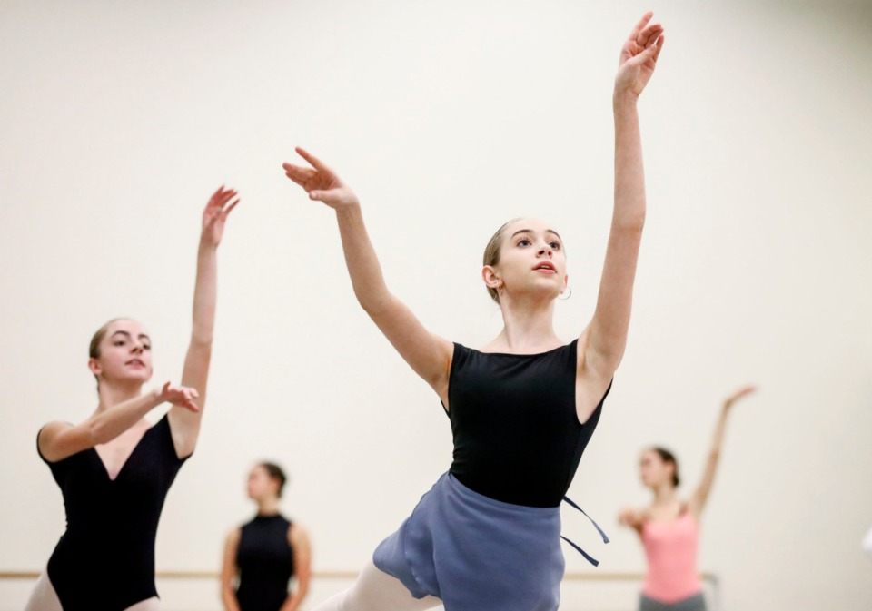 "<strong>New Ballet Ensemble dancer Lily Reynolds rehearses for ""Nut Remix"", a retelling of the ""Nutcracker"" for a 21st century audience.</strong> (Mark Weber/Daily Memphian)"