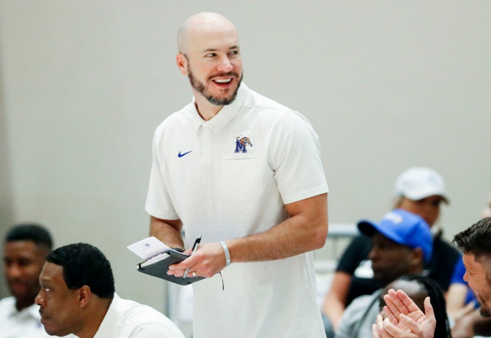 <strong>&ldquo;I learned more about basketball and coffee in those meetings than you could ever imagine,&rdquo; Memphis Tigers assistant coach Cody Toppert said of his coffee meetings with then-Phoenix Suns head coach Igor&nbsp;Koko&scaron;kov. &ldquo;This guy has so much experience all across the board,&rdquo;&nbsp; said&nbsp;Toppert, shown during a game against Raw Talent Elite in Nassau, Bahamas, on Aug. 18.</strong> (Mark Weber/Daily Memphian file)