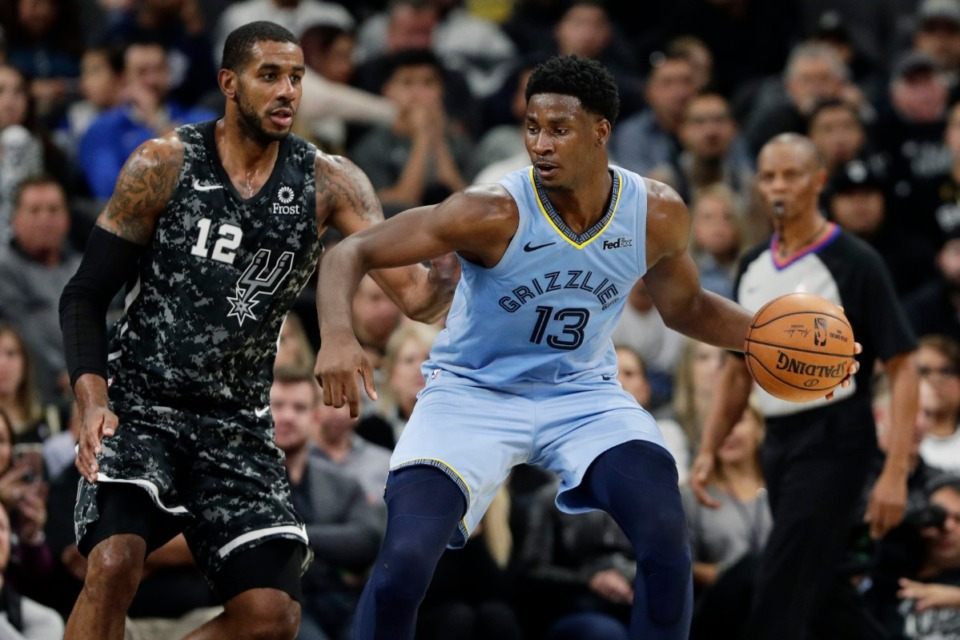 <strong>Memphis Grizzlies forward Jaren Jackson Jr. (13) works the ball around San Antonio Spurs forward LaMarcus Aldridge (12) in San Antonio Nov. 11.</strong> (AP Photo/Eric Gay)