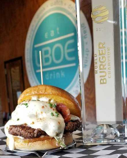 <strong>Tommy Shive's Benedict Burger won first place at the 2017 World Food Championships and he plans to defend his title this week. The burger is on the menu at LBOE in Overston Square.</strong> (Courtesy photo)