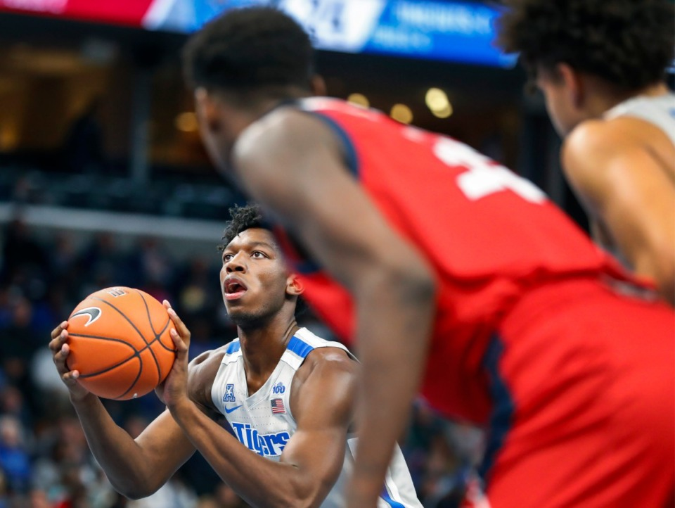 <strong>Memphis center James Wiseman shoots a free throw against UIC during action Friday, Nov. 8, 2019 at the FedExForum.</strong> (Mark Weber/Daily Memphian)