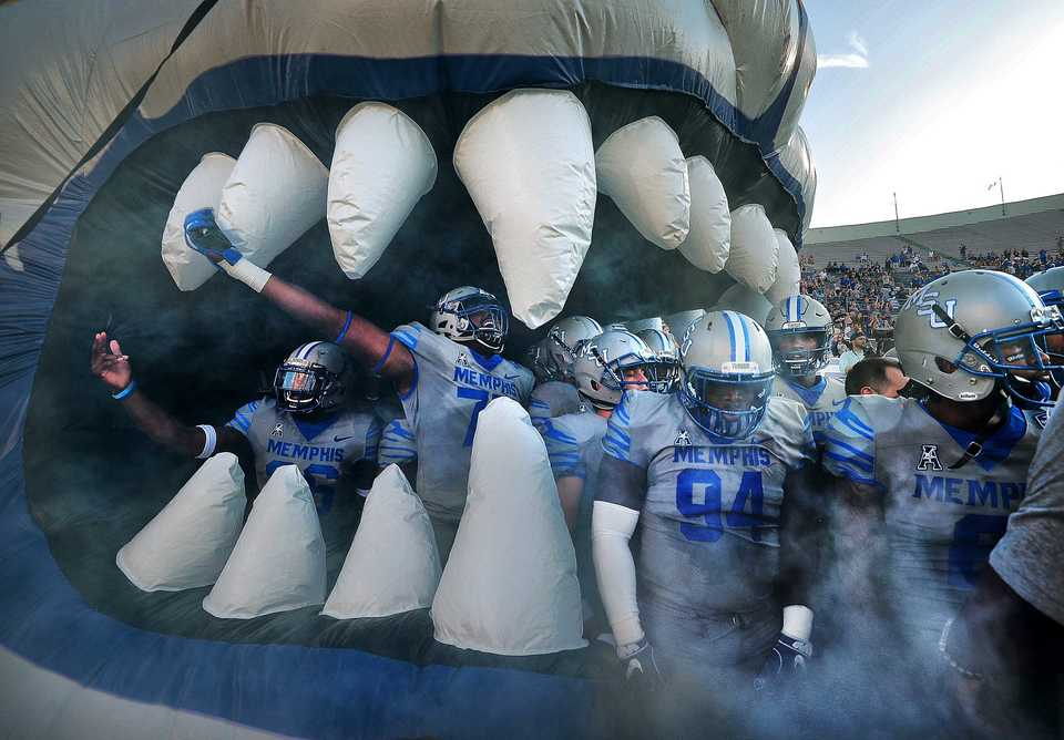 <strong>The Tiger's prepare to storm the field before the start of their game against Georgia State at the Liberty Bowl Memorial Stadium on September 14, 2018. The University of Memphis beat Georgia 59-22.</strong> (Jim Weber/Daily Memphian)