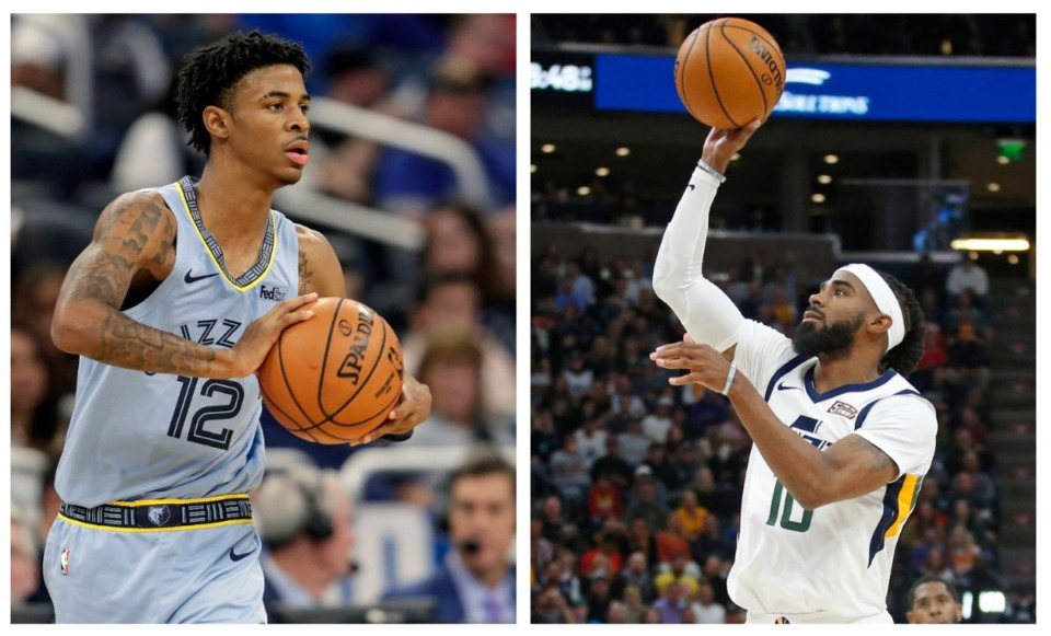 <strong>Ja Morant (left) and Mike Conley</strong>&nbsp;<strong>will both take the floor at FedExForum Friday, Nov. 15.</strong> (Associated Press file photos)