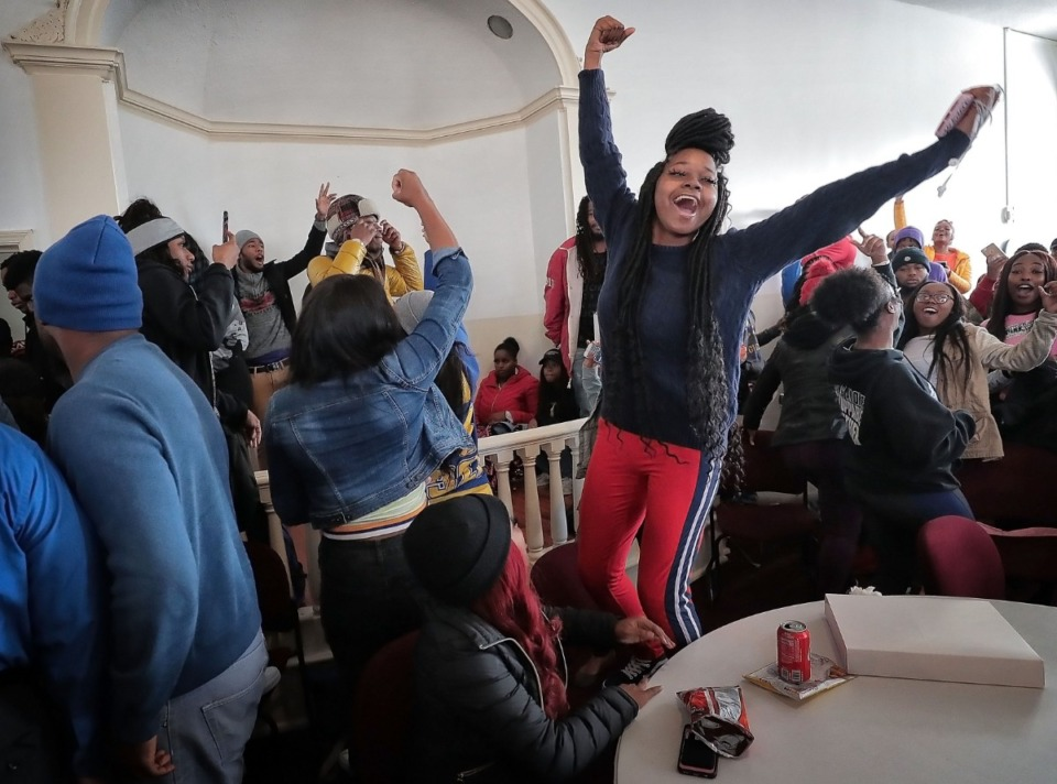 """<strong>Students chant """"LOC"""" at LeMoyne-Owen College during a protest in Brownlee Hall on Nov. 14, 2019, in response to the firing of a favorite administrator,&nbsp;Vice President of Academic &amp; Student Affairs Dr. Terrell Strayhorn.&nbsp;</strong>(Jim Weber/Daily Memphian)"""
