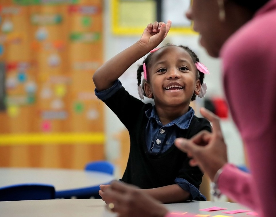"""<strong>Mariah Clayborn learns about words that begin with the letter """"I"""" in Natisha Gaither's&nbsp;<span>pre-kindergarten</span> class at Downtown Elementary School on Thursday, Nov. 14. First 8 Memphis officially launched Thursday during a press conference at the school. The nonprofit was formed to financially support and advocate for early childhood programming for children from birth to age 8. </strong>(Jim Weber/Daily Memphian)"""