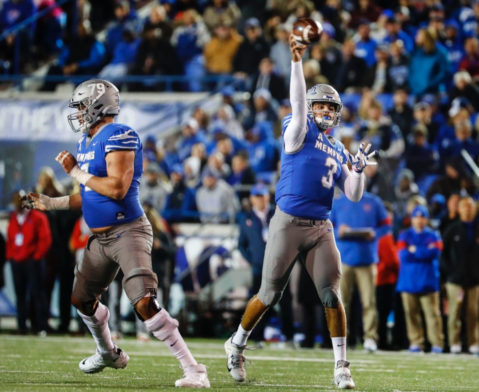 """<strong><span class=""""s1"""">&ldquo;It&rsquo;s kind of like pick your poison,&rdquo; said U of M quarterback Brady White, seen here passing against SMU Nov. 2. &ldquo;If you want to stack the box because we have really good running backs, then you better put your best out to cover our receivers. If you&rsquo;re going to play base defense, we&rsquo;re going to try and put you in a bind where you gotta play both the pass and the run.</span>""""</strong> (Mark Weber/Daily Memphian)"""