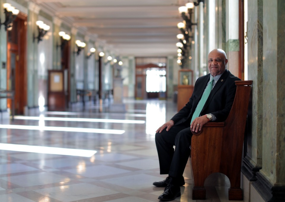 <strong>General Sessions Court Clerk Edward L. Stanton Jr. sits inside the stately D'Army Bailey Courthouse Nov. 14, where his office is located.</strong> (Patrick Lantrip/Daily Memphian)