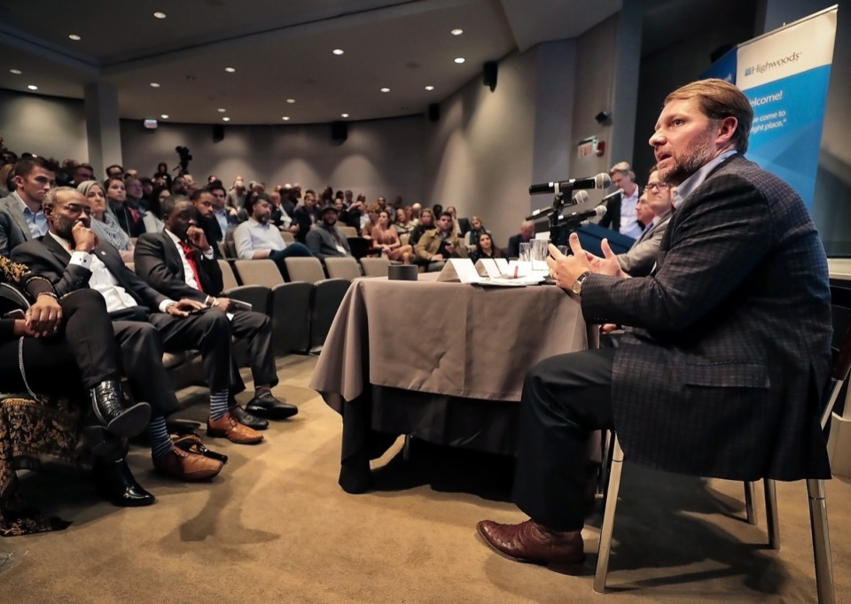 <strong>Carson Claybrook, with Cushman Wakefield Commercial Advisors, talks about retail trends to a packed house at the Daily Memphian's Commercial Real Estate Review &amp; Forecast Nov. 7 at the Memphis Brooks Museum of Art.</strong> (Jim Weber/Daily Memphian)
