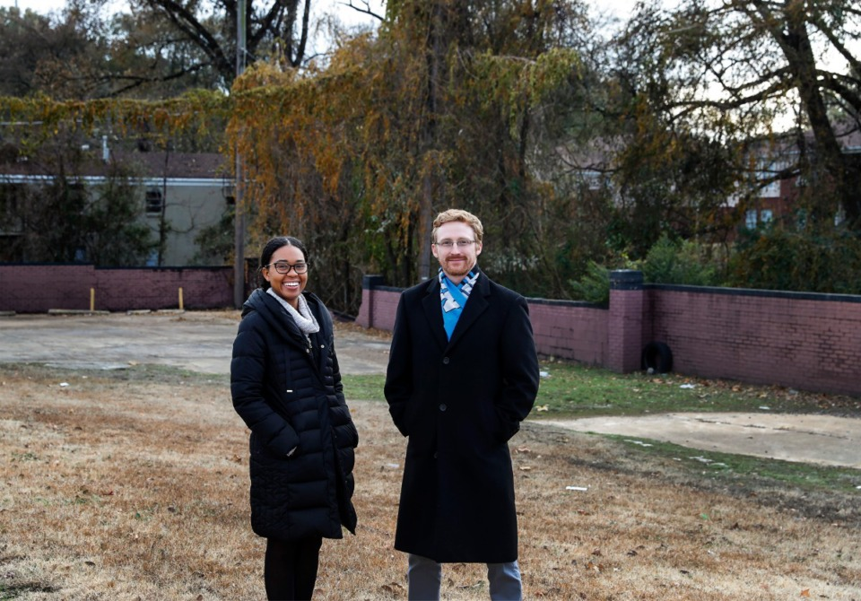 <strong>Lyndsey Pender (left) and Eric Story Neimeyer (right) from The Works Inc., plan to break ground on a pocket park in early 2020 on several parcels it owns at the corner of&nbsp;<span>Mississippi Boulevard and&nbsp;Gaither&nbsp;Street. The new park will be called Renaissance Park.</span></strong>&nbsp;(Mark Weber/Daily Memphian)