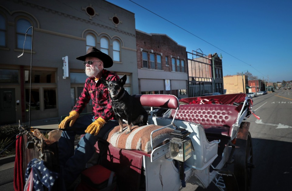 <strong>Carriage driver Leo Sinclair and his pal Terry wait for the light to change on North Main as they pass historic buildings in the Pinch District on Nov. 15, 2019.</strong> (Jim Weber/Daily Memphian)