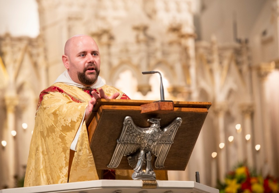 <strong>Father Augustine DeARmond delivers the homily during the 180th anniversary of the first Catholic Mass in West Tennessee, Nov. 17, 2019 at St. Peter Church.</strong> (Greg Campbell/Special to The Daily Memphian)