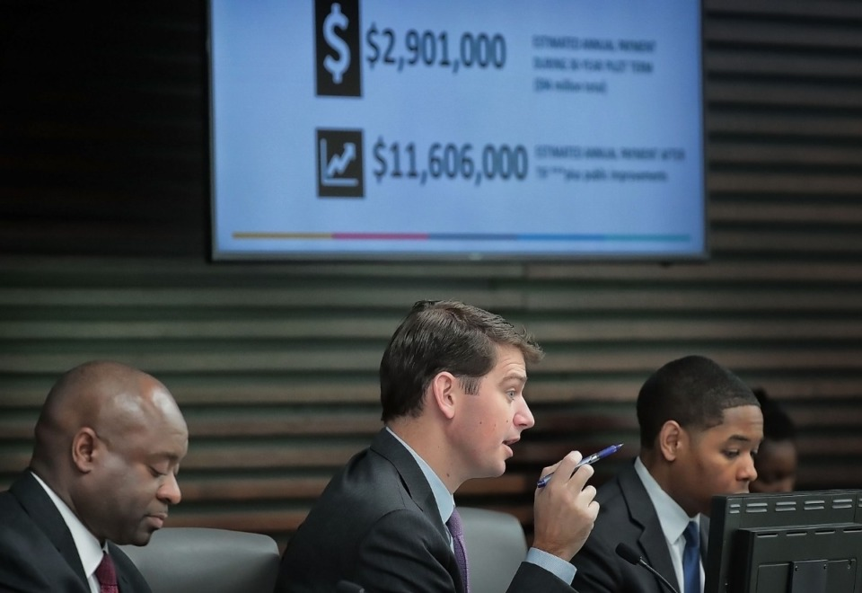 <strong>With tax projection numbers showing in the background, City Council member Worth Morgan addresses concerns during a presentation by the Downtown Memphis Commission and developer Tom Intrator at the council's economic development committee on Tuesday, Nov. 19.</strong> (Jim Weber/Daily Memphian)