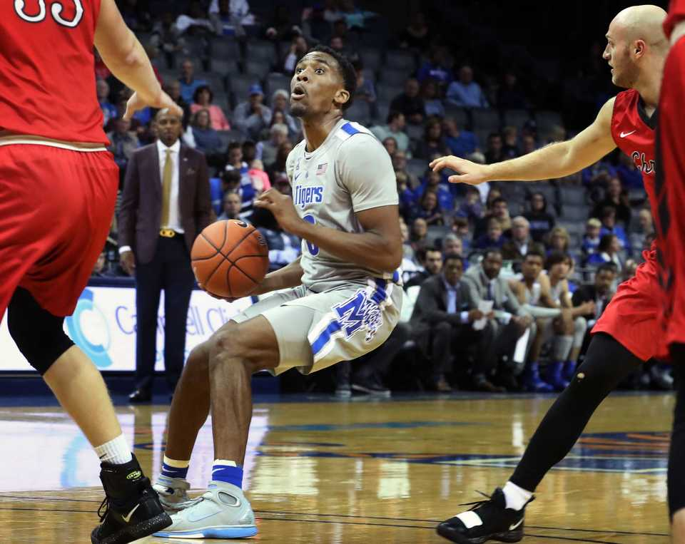 <strong>Memphis Tigers' Jeremiah Martin looks for an opening in the first half of the exhibition game against Christian Brothers at FedEx Forum Friday night.&nbsp;&nbsp;</strong>(Karen Pulfer Focht/Special to The Daily Memphian)