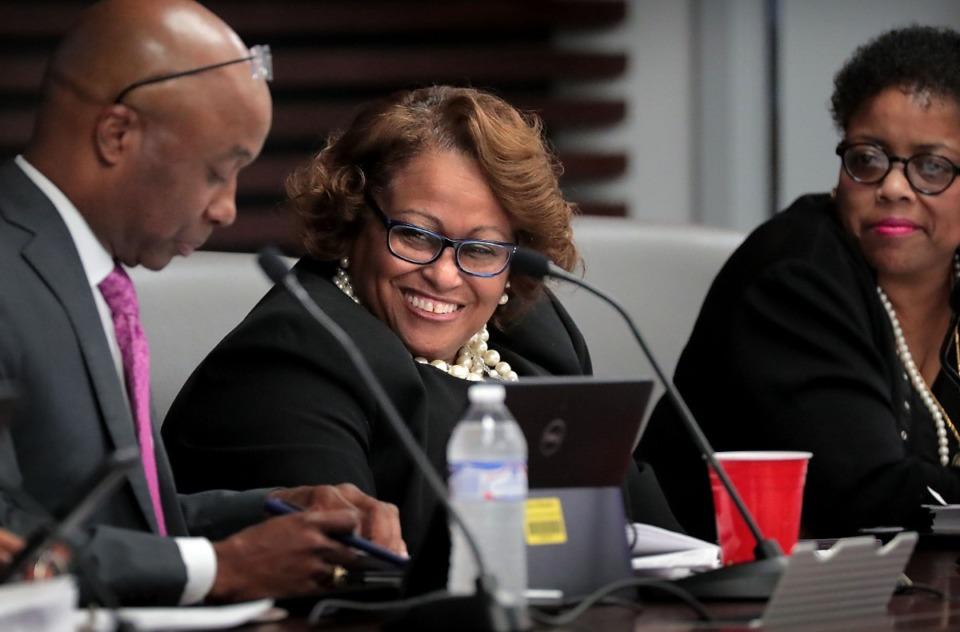 <strong>City Council Vice Chair Patrice Robinson jokes with fellow council member Martavius Jones (left) after a Memphis City Council executive session meeting Nov. 19 at City Hall</strong>. (Jim Weber/Daily Memphian)